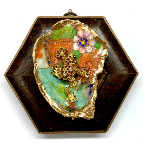 Burled Frame with Sparkle Frog Brooch on Oyster Shell (4.5