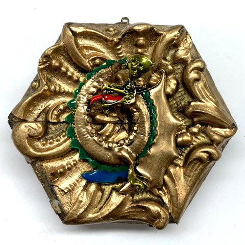 Gilt Frame with Fire Breathing Dragon Brooch (3.25