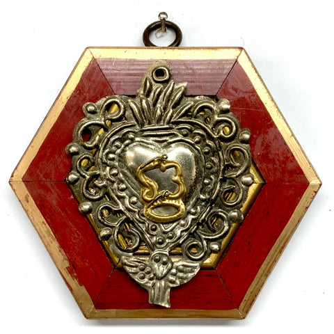 Lacquered Frame with 19th Century Silver Plated Sacred Heart (4.25