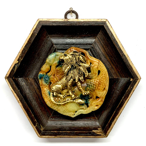 Wooden Frame with Lion on Jade (5.25