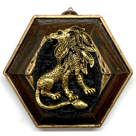 Wooden Frame with Lion on Jade (3.75