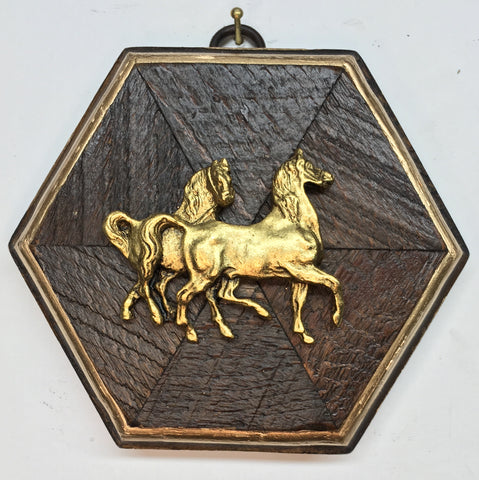 Antique Plywood Frame with Horses (4.5