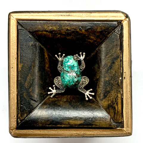 Burled Frame with Frog Brooch (2.25