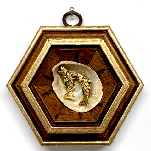 Wooden Frame with Fish on Shell (3.75