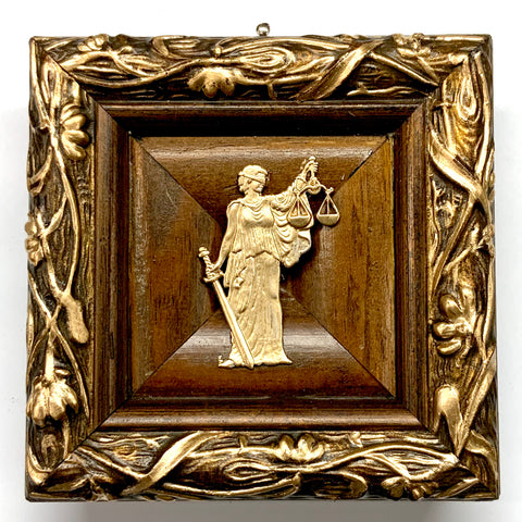Wooden Frame with Lady Justice (4