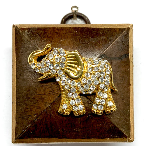 Burled Frame with Sparkle Elephant Brooch (2
