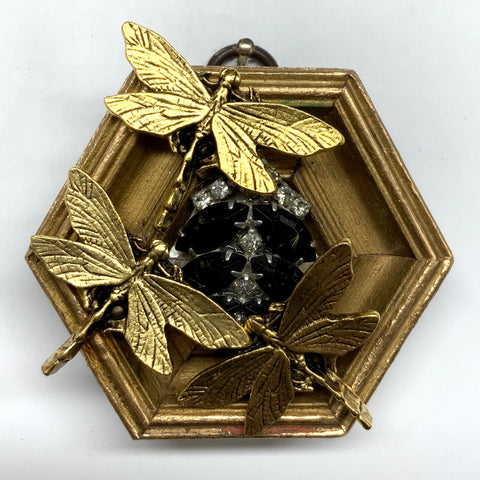 Gilt Frame with Dragonflies on Brooch (3