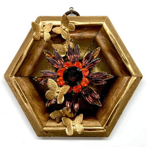 Gilt Frame with Butterflies on Brooch (4.25