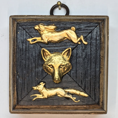 Bourbon Barrel Frame with Foxes and Hare (2.75