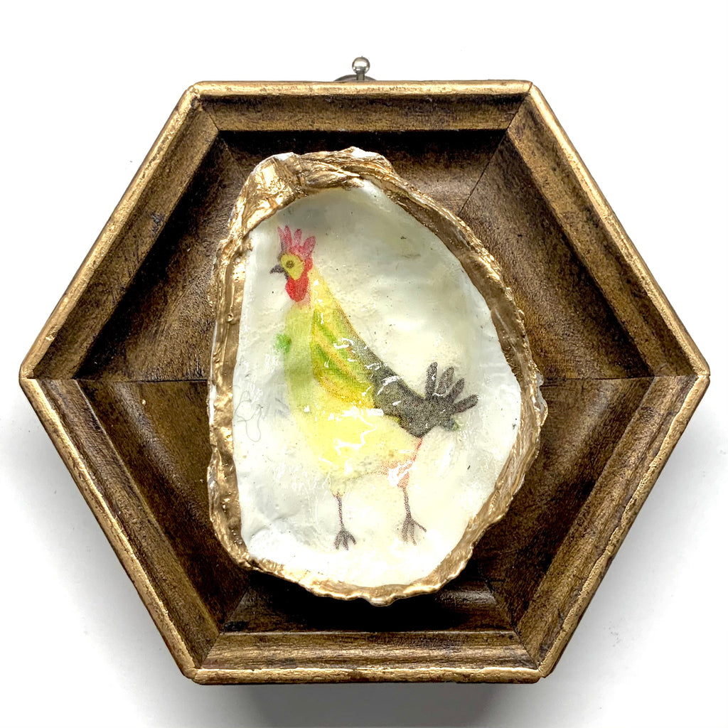 Painted Frame with Funky Chicken Oyster Shell (4.5