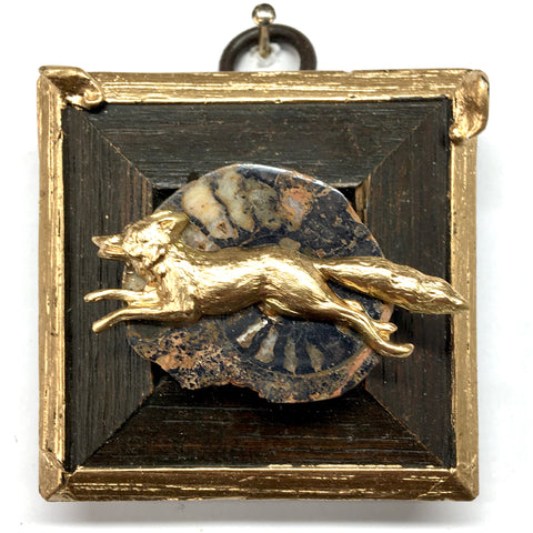 Wooden Frame with Fox on Ammonite Fossil (2.25