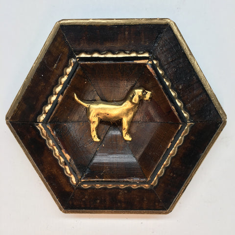 Burled Frame with Golden Retriever (3.25