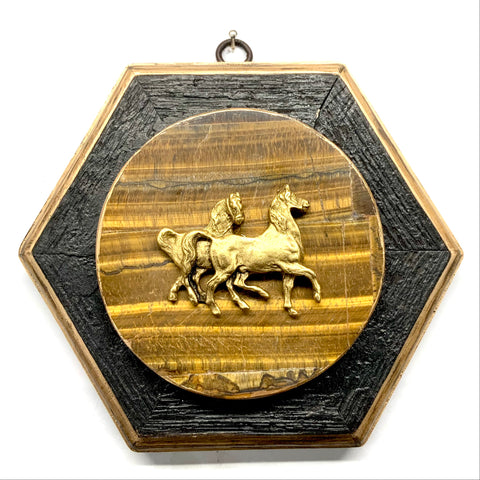 Bourbon Barrel Frame with Horses on Tiger Eye Stone (6.5