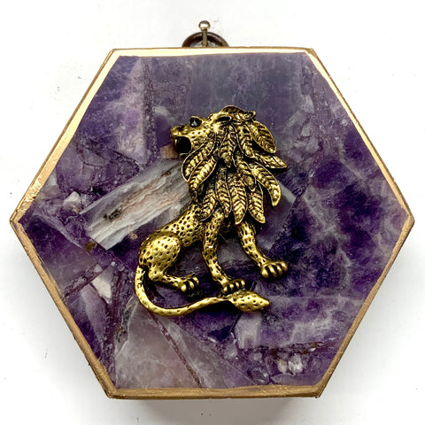 Wooden Frame with Lion on Amethyst (4.25