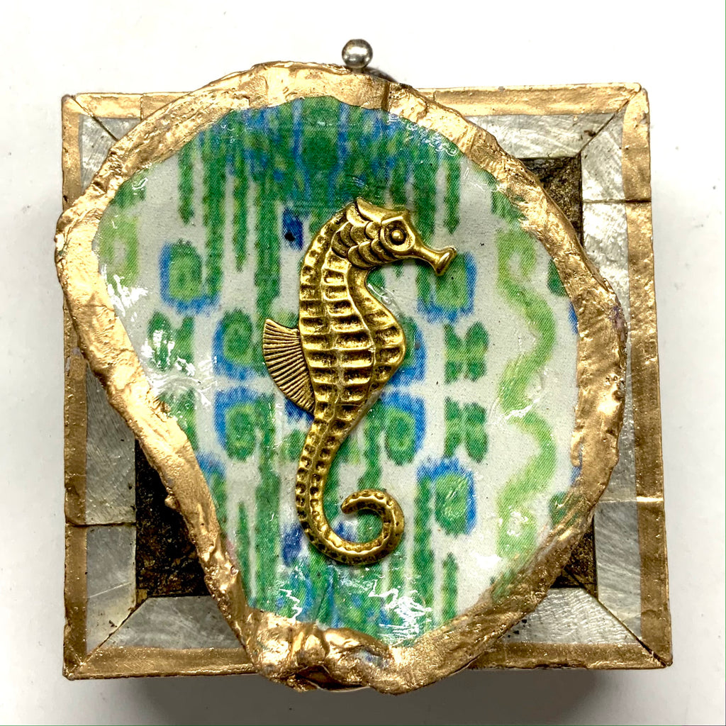 Mother of Pearl Frame with Seahorse on Oyster Shell (2.25