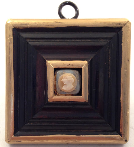 Gilt Square Wooden Frame with Shell Carved Cameo