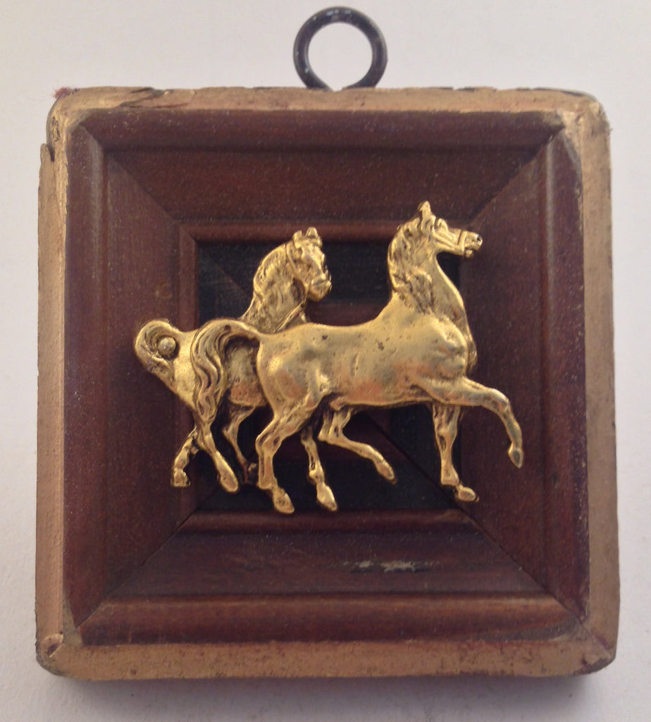 Wooden Gilt Square Frame with Horses