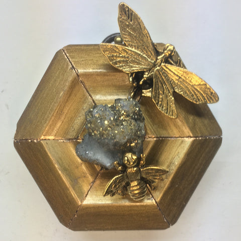 Gilt Frame with Dragonfly and Bee around Pyrite (3