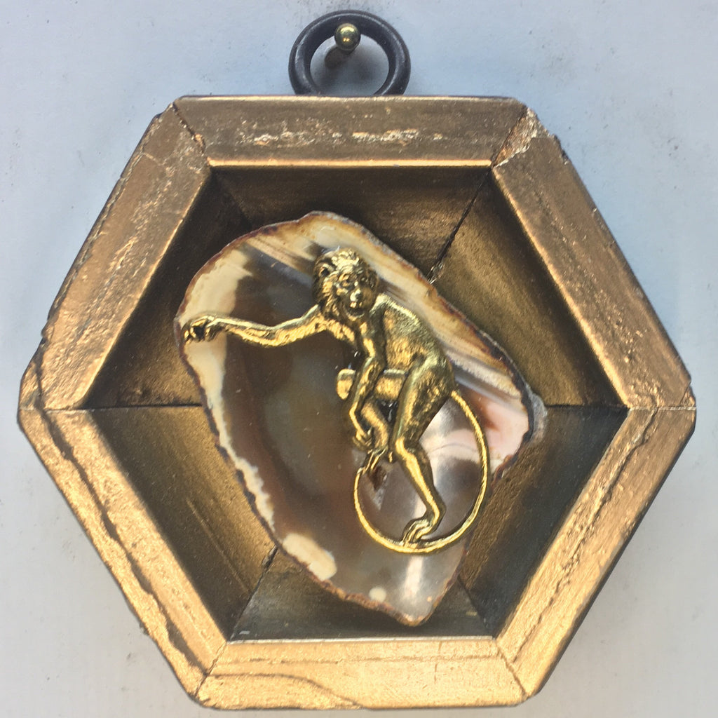 Gilt Frame with Monkey on Agate Fragment (3