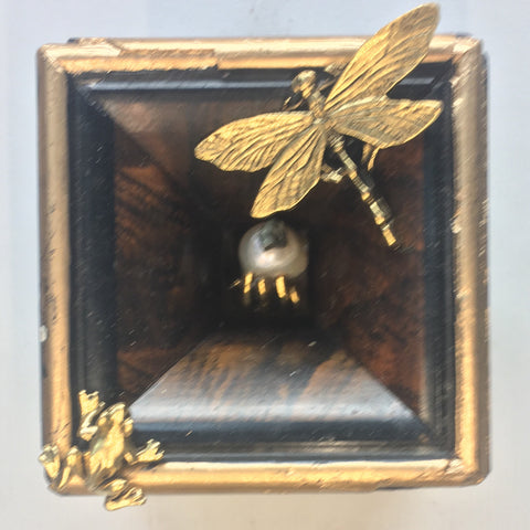 Burled Frame with Frog and Dragonfly around Hand holding Pearl (3