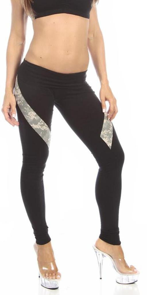 Sexy Hi Lo Waist Universal Camo Pattern Military Work Out Pants - Black/Green - FitByM.com