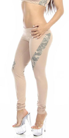 Sexy Hi Lo Waist Universal Camo Pattern Military Work Out Pants - Tan/Green - FitByM.com