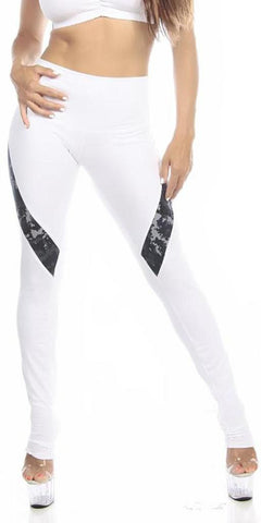 Sexy Hi Lo Waist Blue Digital Camo Military Work Out Pants - White/Blue - FitByM.com