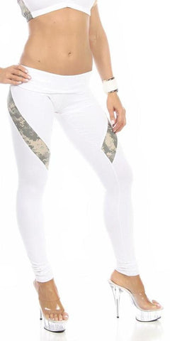 Sexy Hi Lo Waist Universal Camo Pattern Military Work Out Pants - White/Green - FitByM.com