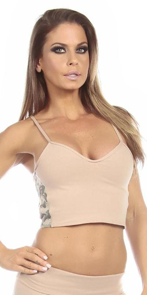 Sexy Concealment Green Digital Camo Military Athletic Crop Top - Tan/Green - FitByM.com