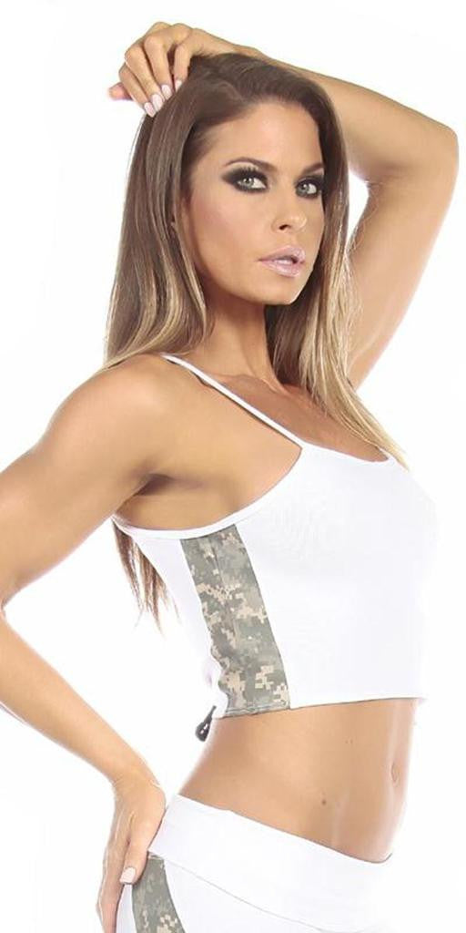 Sexy Concealment Green Digital Camo Military Athletic Crop Top - White/Green - FitByM.com
