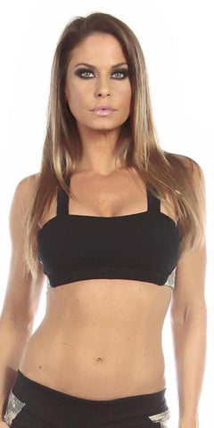 Sexy Seaman Criss Cross Athletic Green Sports Bra Top - Black/Green - FitByM.com