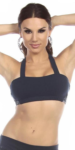 Sexy Seaman Criss Cross Athletic Navy Blue Sports Bra Top - Navy Blue/Blue - FitByM.com