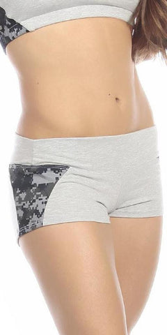 Sexy Unbroken Honor Military Navy Scrunch Back Work Out Shorts - Grey/Blue - FitByM.com