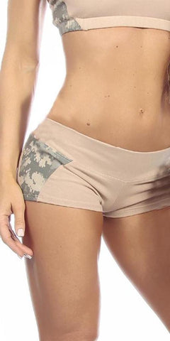 Sexy Unbroken Honor Military Universal Green Scrunch Back Work Out Shorts - Tan/Green - FitByM.com