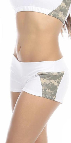 Sexy Unbroken Honor Military Universal Green Scrunch Back Work Out Shorts - White/Green - FitByM.com