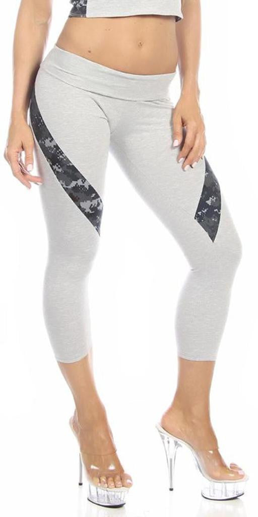 Sexy Hi Lo Waist Blue Digital Camo Combat Athletic Capri Pants - Grey/Blue - FitByM.com