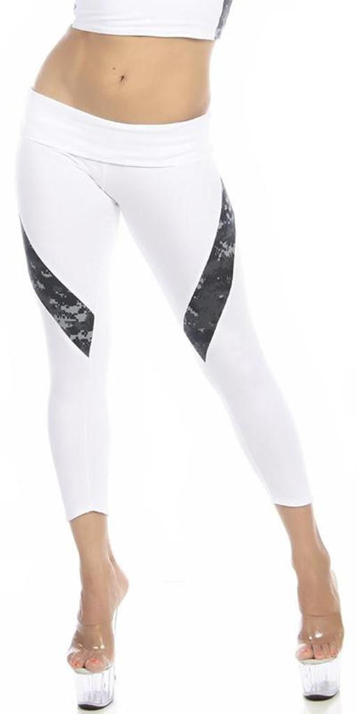 Sexy Hi Lo Waist Blue Digital Camo Combat Athletic Capri Pants - White/Blue - FitByM.com