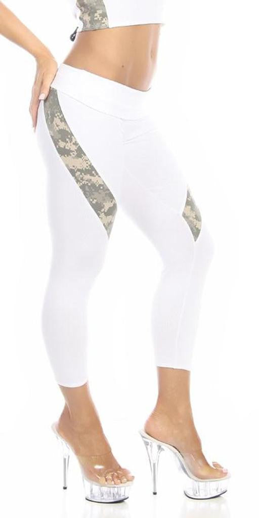 Sexy Hi Lo Waist Universal Camo Pattern Combat Athletic Capri Pants - White/Green - FitByM.com