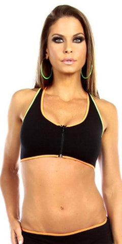 Sexy Neon Trim Zip Front Fourth Dimension Athletic Stretch Sports Bra Top - Black/N.Orange/N.Yellow/N.Green - FitByM.com