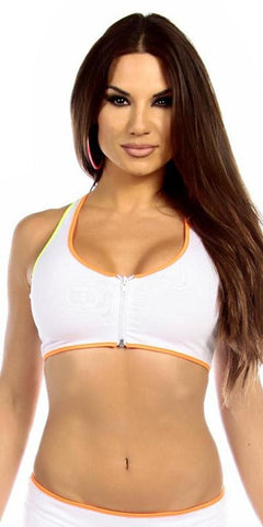 Sexy Neon Trim Zip Front Fourth Dimension Athletic Stretch Sports Bra Top - White/N.Orange/N.Yellow/N.Green - FitByM.com