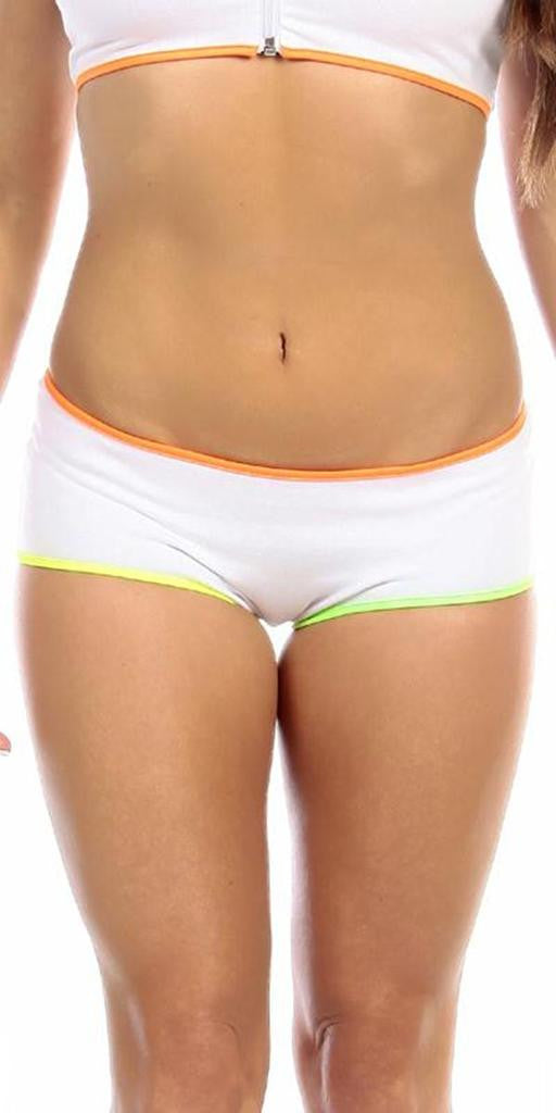 Sexy Neon Trim Low Rise Fourth Dimension Athletic Stretch Comfort Shorts - White/N.Orange/N.Yellow/N.Green - FitByM.com