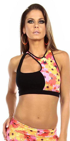 Sexy Cut Out Flex Racer Back Supportive Sports Bra Top - Black/Sunflower - FitByM.com