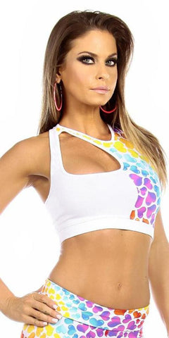 Sexy Cut Out Flex Racer Back Supportive Sports Bra Top - White/Hearts Small / White/Hearts,  - Musotica, Fit by M - Shop Sexy Fitness Girl Clothing, Sexy Athletic Gym Clothing, Sexy Bodybuilding Girl Apparel  - 1