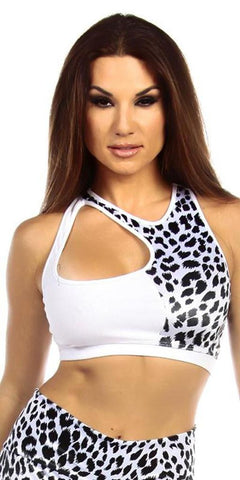 Sexy Cut Out Flex Racer Back Supportive Sports Bra Top - White/Snow Leopard Small / White/Snow Leopard,  - Musotica, Fit by M - Shop Sexy Fitness Girl Clothing, Sexy Athletic Gym Clothing, Sexy Bodybuilding Girl Apparel  - 1