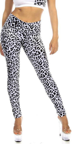 Sexy High Waist Cuff Roll Down Stretch Work Out Athletic Leggings - Snow Leopard - FitByM.com