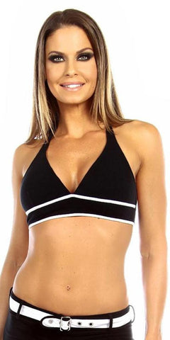 Sexy Burn Adjustable Tie Athletic Ring Girl Gym Halter Top - Black/White - FitByM.com