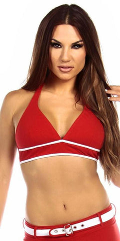 Sexy Burn Adjustable Tie Athletic Ring Girl Gym Halter Top - Red/White - FitByM.com