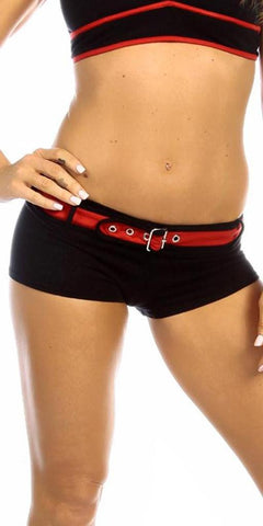 Sexy Sport Band Low Rise Belted Ring Girl Core Gym Shorts - Black/Red - FitByM.com