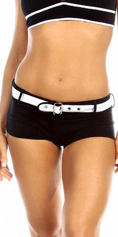 Sexy Sport Band Low Rise Belted Ring Girl Core Gym Shorts - Black/White - FitByM.com