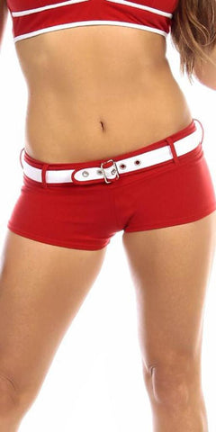 Sexy Sport Band Low Rise Belted Ring Girl Core Gym Shorts - Red/White - FitByM.com